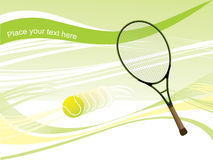 Tennis racket with ball in motion; illustration Stock Images