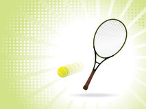 Tennis racket with ball in motion, wallpaper Stock Photos