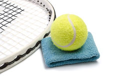 Tennis racket and ball over white Stock Images