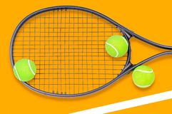 Tennis racket and ball sports on background. Tennis racket and ball sports on pastel background stock image