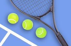 Tennis racket and ball sports on blue background stock image