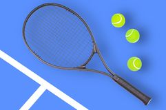 Tennis racket and ball sports on blue background. Tennis racket and ball sports on pastel blue background stock image