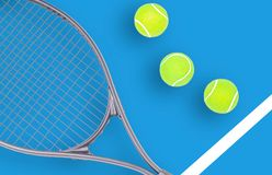Tennis racket and ball sports on blue background. Tennis racket and ball sports on pastel blue background stock photo