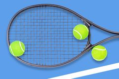 Tennis racket and ball sports on blue background. Tennis racket and ball sports on pastel blue background royalty free stock photo