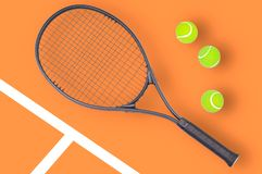 Tennis racket and ball sports on color background. Tennis racket and ball sports on pastel background stock image