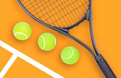 Tennis racket and ball sports on color background. Tennis racket and ball sports on pastel background stock images
