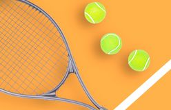 Tennis racket and ball sports on color background. Tennis racket and ball sports on pastel background stock photo