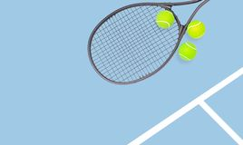 Tennis racket and ball sports on pastel background royalty free stock photos