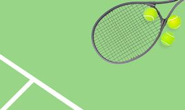 Tennis racket and ball sports on pastel background stock image