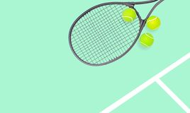 Tennis racket and ball sports on pastel background stock images