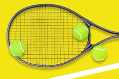 Tennis racket and ball sports on pastel background royalty free stock images