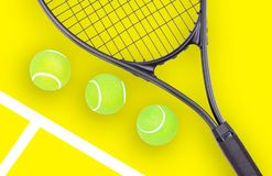 Tennis racket and ball sports on yellow background. Tennis racket and ball sports on pastel yellow background stock images