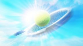 Tennis racket with ball on sunlight background. Abstract backgrounds royalty free stock photos