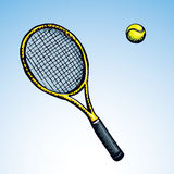 Tennis racket and ball. Vector drawing Stock Images