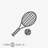 Tennis racket with ball vector icon. Outline tennis racket with ball vector icon on grey background royalty free illustration