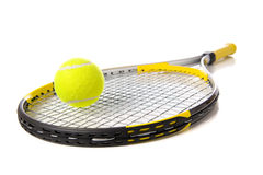 Tennis Racket and ball on white Royalty Free Stock Photo