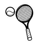 Tennis racket and ballon Royalty Free Stock Photo