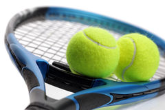 Tennis racket and balls Royalty Free Stock Photos
