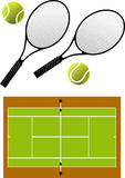 Tennis racket and balls,  Royalty Free Stock Photos