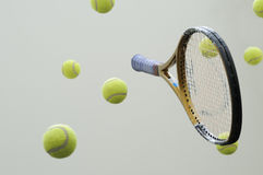 Tennis racket with balls. Tennis racket and balls groundless Stock Photography