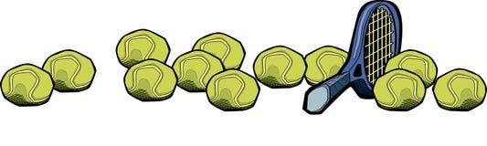 Tennis racket and balls. Cartoon illustration of tennis racquet or racket and balls, isolated on white background Royalty Free Stock Photos