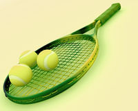 Tennis racket and balls Royalty Free Stock Images