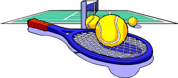 Tennis racket balls and court Stock Image