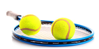 Tennis racket and balls isolated Royalty Free Stock Image