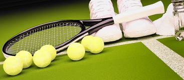 Tennis racket with balls and sneakers, water bottle, towel on gr Stock Images