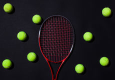 Tennis racket with balls Stock Photos