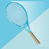 Tennis racket on blue Stock Image