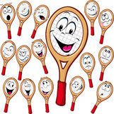 Tennis racket cartoon. With many facial expressionsisolated on white background stock illustration