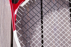 Tennis racket in close up Stock Images