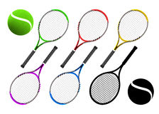 Tennis racket equipment color collection with balls Royalty Free Stock Photo
