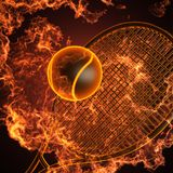 Tennis racket in fire. Made in 3D Royalty Free Stock Photos