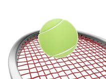 Tennis racket and green ball. Sports concept,3d&computer generated Stock Photos
