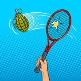 Tennis racket hits a grenade pop art style vector. Tennis racket beats a hand grenade pop art style vector illustration. Comic book style imitation Royalty Free Stock Image