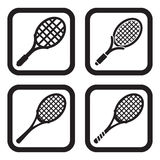 Tennis racket icon in four variations.  Stock Photos