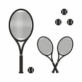 Tennis racket icon set. A racket sport that can be played individually against a single opponent (singles) or between two teams of two players each (doubles royalty free illustration