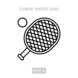 Tennis racket. Linear  icon. Icon of the tennis racket in a linear style Royalty Free Stock Photos