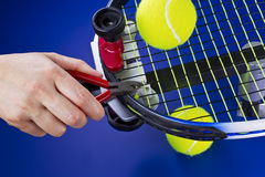 Tennis Racket Maintenance Stock Photography