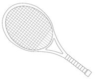Tennis Racket Outline. A tennis racket in outline over a white background stock illustration