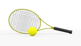 Tennis racket rendered isolated on white Royalty Free Stock Photography