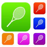Tennis racket set collection. Tennis racket set icon in different colors isolated vector illustration. Premium collection Royalty Free Stock Photos