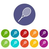 Tennis racket set icons. In different colors isolated on white background Royalty Free Stock Photos