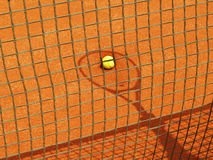 Tennis racket shadow (55). Tennis racket shadow with ball outside in the tennis court Royalty Free Stock Photography