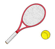 Tennis racket. Sketch of the tennis racket and ball, isolated Stock Photo
