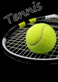 Tennis racket, tennis ball and text. Tennis racket, tennis ball, and \ Tennis \ text on black background Stock Images