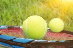 Tennis racket. Tennis ball sports equipment ball equipment sport two objects Stock Photo