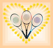 Tennis rackets. In heart of tennis balls Stock Images